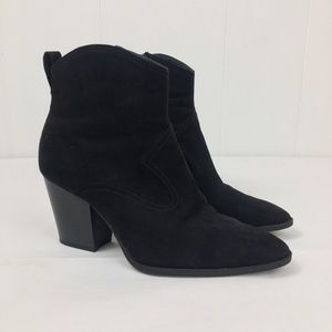 Divided H&M Suede Ankle Pointed Black Boots 39